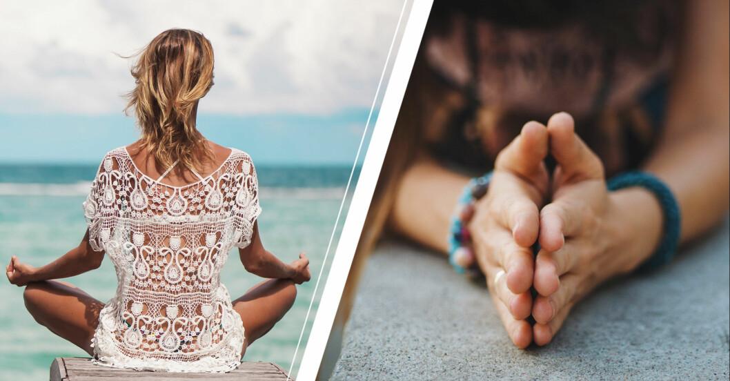 Yogapositioner på strand och i hem.